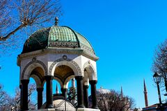 Mosques and Blue Sky. From Turkey Travel Royalty Free Stock Photo
