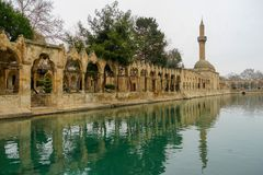 Mosques and historical works view from Urfa Turkey. A Muslim place of worship Royalty Free Stock Images