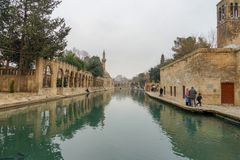Mosques and historical works view from Urfa Turkey. A Muslim place of worship Stock Images