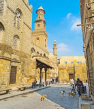The Mosques of Islamic Cairo. CAIRO, EGYPT - OCTOBER 10, 2014: The scenic carved minarets of the numerous local mosques and architectural ensembles decorate Al Stock Image