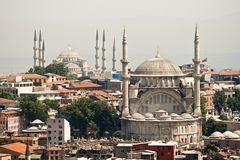 Mosques of Istanbul. Daytime view of the mosques with the minarets extending to the sky in Istanbul Stock Photo