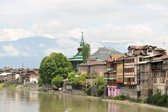 Mosques at Jahelum river in Srinagar, Kashmir Royalty Free Stock Photos