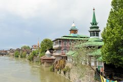 Mosques at Jahelum river in Srinagar, Kashmir Stock Image