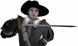 Mosquetero con la espada stock de ilustración
