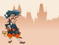 Mosquetero desconcertado carácter divertido del soldado de la historieta stock de ilustración