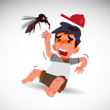 Mosquito and afraid boy with dengue effect . fever concept. Illustration Royalty Free Stock Photos
