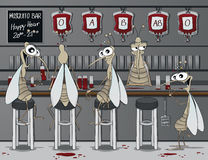 The mosquito bar. Smiling and drinking mosquitos at the blood bar Stock Image