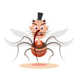 Mosquito cartoon character. Cartoon mosquito smiles and makes a bite. Illustration in flat style. Isolated Stock Photo