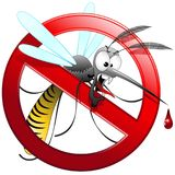 Mosquito Cartoon Hungry and Angry. Ungry and Hungry Mosquito cartoon, on Forbidden Symbol, created on Vector Graphic Art Technique. Copyright BluedarkArt Royalty Free Stock Image