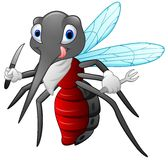 Mosquito cartoon ready to eat Royalty Free Stock Image