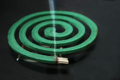Mosquito coil. Burning mosquito coil as anti insect or aroma therapy stock photography
