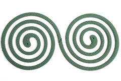 Mosquito Coils. Two spiral. Mosquito coil on black background Stock Photos