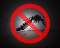 Mosquito con la muestra prohibida en fondo oscuro Foto de archivo libre de regalías