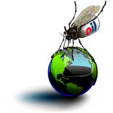 Mosquito draining oil on globe Royalty Free Stock Photo