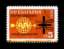 Mosquito and emblem, the Association for the Fight against malaria, circa 1962. MOSCOW, RUSSIA - JUNE 26, 2017: A stamp printed in Bulgaria shows Mosquito and Royalty Free Stock Photo