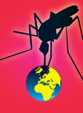 Mosquito fever attacking planet. Illustration of a mosquito attaking planet earth. Additional  illustration file available Stock Photography