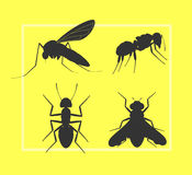 Mosquito, Fly and Ant Silhouettes Stock Photography
