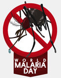 Mosquito is Forbidden in World Malaria Day, Vector Illustration Stock Images
