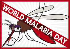 Mosquito Full of Blood with Forbidden Sign in Malaria Day, Vector Illustration. Cartoon poster with female mosquito just finishing bloodsucking and cleaning its Stock Photography