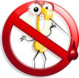 Mosquito Fun Cartoon on Forbidden Symbol. Fun Mosquito cartoon Character, on a `Stop` / `Forbidden` Symbol, created on Vector Graphic Art Technique. Copyright Stock Photo