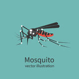 Mosquito icon  on background. Insect sign. Pest control. Vector illustration flat design. Bloodsucker cartoon Royalty Free Stock Photo
