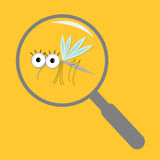 Mosquito magnifer research Cute cartoon funny character. Insect collection. Baby illustration. Yellow background. Flat design. Royalty Free Stock Photography
