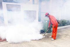 The mosquito is a  of malaria and dengue fever. The employees of the municipality made by injection to control scourge of mosquitoes Stock Images