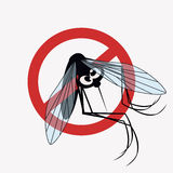 Mosquito marked No. Anti mosquito sign with a funny cartoon mosquito Royalty Free Stock Images