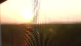 Mosquito net with blurred by the setting sun. Mosquito net on the window on a background of a blurry sunset and dawn sun stock footage