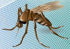 Mosquito net and mosquito. White mosquito net with mosquito on blue background royalty free illustration