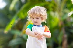 Free Mosquito On Kids Skin. Insect Bite Repellent Stock Photos - 163627853