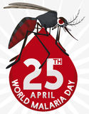 Mosquito over Blood Drop Design for World Malaria Day, Vector Illustration. Poster with mosquito standing in the top of a blood drop with reminder date for World Stock Photo
