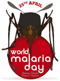 Mosquito over a Red Button Commemorating World Malaria Day, Vector Illustration. Poster with mosquito over a red bloody rounded button to commemorate World Royalty Free Stock Photos