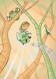 Mosquito pequeno e um leão sonolento Imagens de Stock Royalty Free