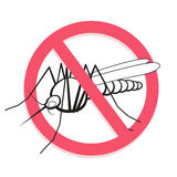 Mosquito prohibited sign. For informational and institutional related sanitation and care. Stock Images