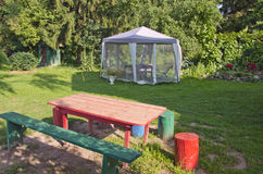 Mosquito protection tent in summer garden Stock Photo