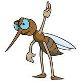 Mosquito With Raised Hand. Colored Cartoon Illustration, Vector Stock Photography