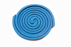 Mosquito repellent incense coil blue. On white background Stock Photography