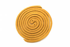 Mosquito repellent incense coil isolated on white background Stock Photos