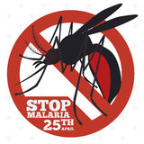 Mosquito Sign to Promote Malaria Prevention, Vector Illustration Royalty Free Stock Photography