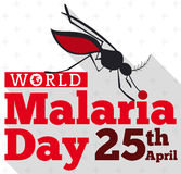 Mosquito Silhouette Biting the World Malaria Day Sign, Vector Illustration Stock Images