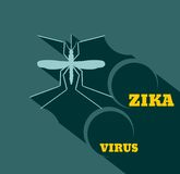 Mosquito silhouette flat style vector illustration. Virus diseases transmitter. Mosquito silhouette. Zika virus text. Flat style vector illustration Stock Photography