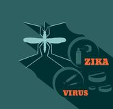 Mosquito silhouette flat style vector illustration. Virus diseases transmitter. Mosquito silhouette. Zika virus text. Syringe. repellent spray and pills. Flat Royalty Free Stock Photo