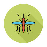 Mosquito. Single flat color icon on the circle. Vector illustration stock illustration