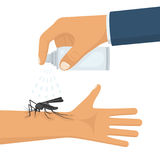 Mosquito spray in hand human. Man spraying insect repellents on skin outdoor. Spray bottle in arm. Pest control. Vector illustration flat design. Isolated on Stock Photography