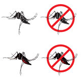 Mosquito and Stop mosquito sign symbols vector design Stock Photography