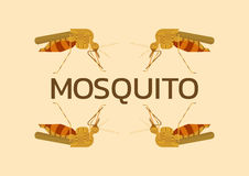 Mosquito Vintage Logo Vector Illustration,Origin diseases. Such as dengue fever, zika disease,enchaphalitits flat art design Stock Photography