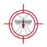 Mosquito warning protection sign. Anti mosquitoes, insect control symbol.illustration Royalty Free Stock Photos