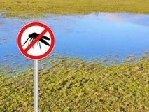 Mosquito warning shield isolated Stock Photo