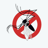 Mosquito warning sign 3. Anti mosquito sign with a funny cartoon mosquito Royalty Free Stock Photos